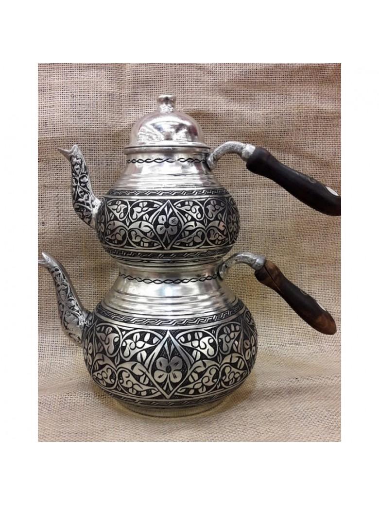 Bakır Eskitme Ağır Nakışlı Kalın Çaydanlık