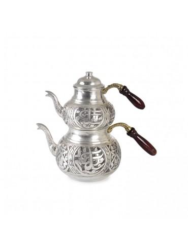 Bakır Eskitme Ahşap Saplı Çaydanlık